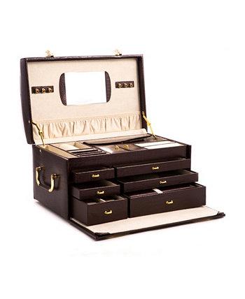 Сундук для украшений Croco с несколькими уровнями, 2 съемными дорожными чемоданами, зеркалом и застежками-замками Bey-Berk