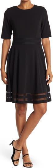 Платье с короткими рукавами и иллюзией в полоску с пышной юбкой Modern American Designer