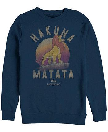 Мужская футболка Lion King Simba Hakuna Matata, флисовая ткань с круглым вырезом Disney