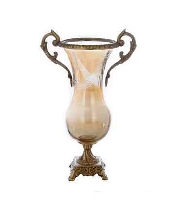 Стеклянная янтарная латунная ваза Classic Touch
