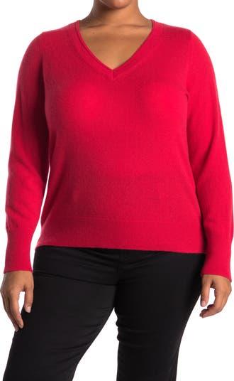 Кашемировый свитер с длинными рукавами и V-образным вырезом Halogen
