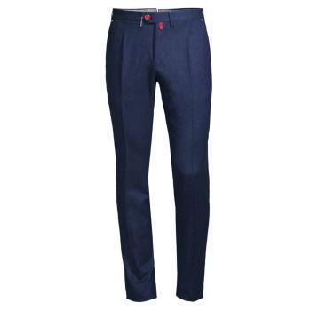 Узкие брюки из смесовой шерсти Birdseye Kiton