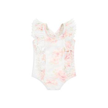 Сплошной купальник для маленьких девочек с цветочными оборками Miniclasix