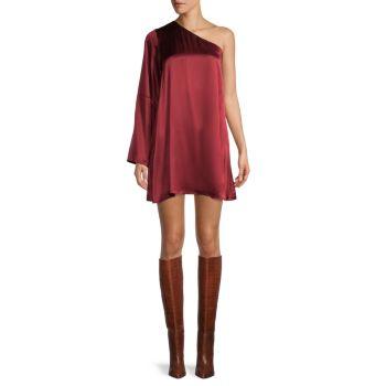 Атласное платье на одно плечо Leah Tanya Taylor
