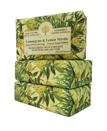Мыло из лемонграсса и лимонного мирта с пакетом из 3 штук, каждая по 7 унций Wavertree & London