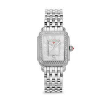 Часы Deco Madison Mid из нержавеющей стали с бриллиантами и браслетом Michele