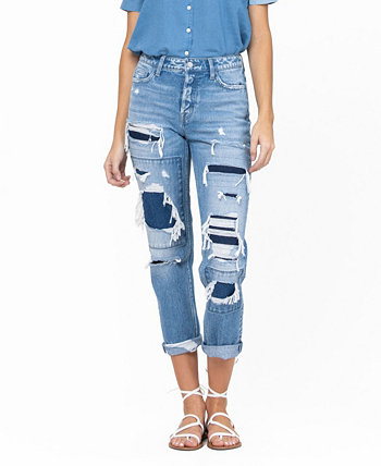 Women's Hidden Button Distressed and Patched Roll Up Boyfriend Jeans FLYING MONKEY