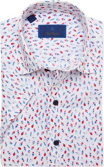 Рубашка на пуговицах с коротким рукавом и принтом Ice Pop с отделкой Trim Fit David Donahue