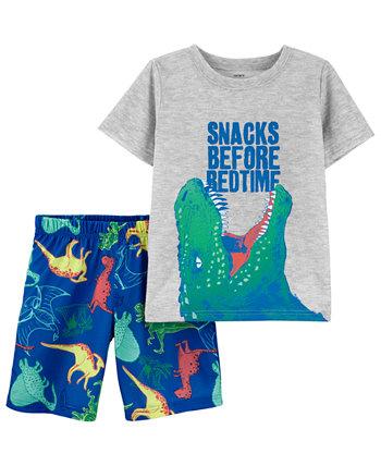 Little Boys 2-Pc. Dinosaur Snacks Pajamas Set Carters