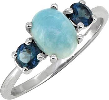 Изысканное кольцо из стерлингового серебра с голубым топазом Larimar & London Nitya