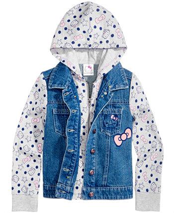 Джинсовая куртка с капюшоном, для маленьких девочек Hello Kitty