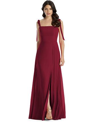 Шифоновое платье с завязками на бретелях Dessy Collection