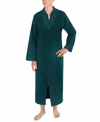 Длинный махровый халат на молнии с начесом на спине Miss Elaine