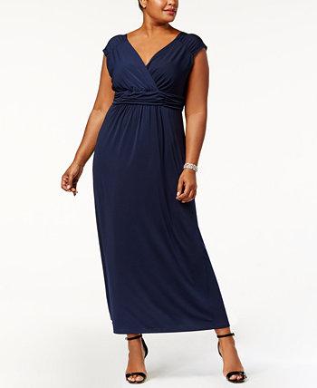 Макси-платье в стиле ампир со сборками больших размеров NY Collection