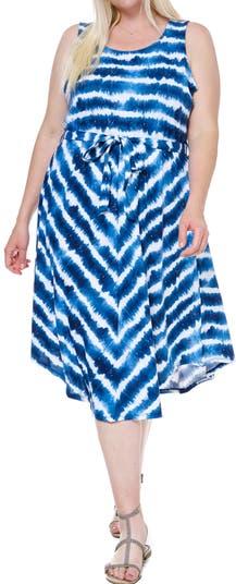 Платье из джерси без рукавов с завязками на талии и принтом тай-дай SINGLE THREAD