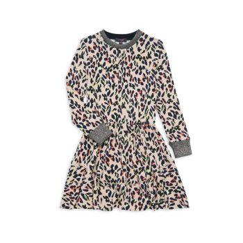 Маленькая девочка & amp; Неоновое платье для девочек с животным принтом Imoga