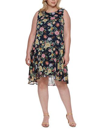 Plus Size Floral-Print High-Low Dress Tommy Hilfiger