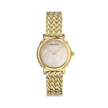 Часы с желтым позолоченным браслетом с английской булавкой Versace