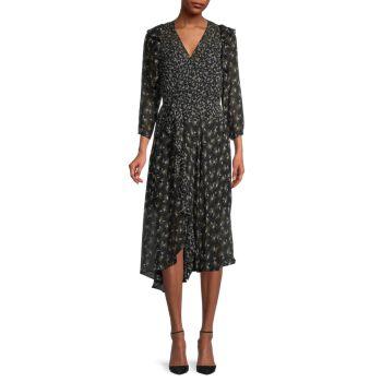 Платье с оборками с ботаническим принтом Bailey 44