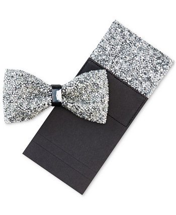 Мужской галстук-бабочка и нагрудный платок с блестками Tallia