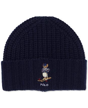 Мужская шапка-бини с логотипом в виде медведя в массивную ребро Ralph Lauren