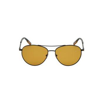 Круглые солнцезащитные очки-авиаторы из поляризованного металла 58 мм Zegna