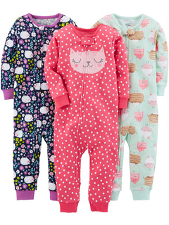 3-Pack Snug Fit Footless Cotton Pajamas (Toddler) Simple Joys by Carter's