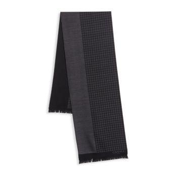 Двусторонний шерстяной шарф в клетку Canali