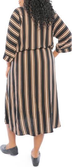 V-Neck Striped Dress London Times
