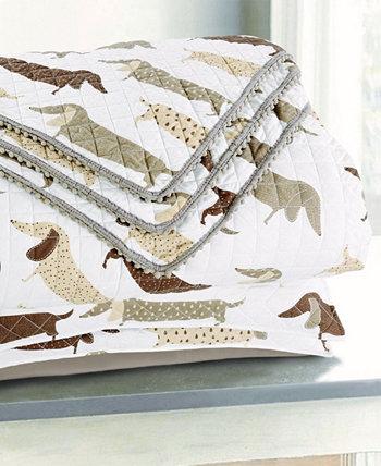 Лоскутное одеяло и подушка для подушек Sleeping Partners такса с помпонами, набор из 3 предметов Tadpoles
