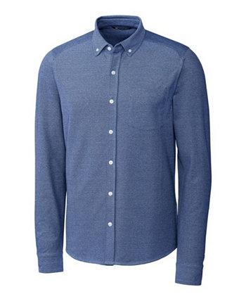 Мужская рубашка из оксфорда с длинными рукавами на пуговицах большого и высокого роста спереди Cutter & Buck