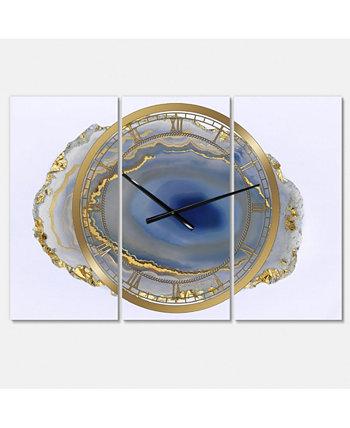 """Большие модные настенные часы с 3 панелями с золотым водным агатом - 36 """"x 28"""" x 1 """" Designart"""
