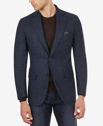 Мужское приталенное спортивное пальто в клетку бирюзового цвета Tallia
