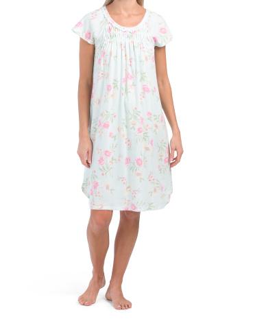 Ночная рубашка с короткими рукавами и цветочным принтом Miss Elaine