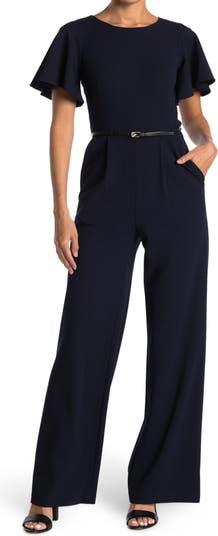 Flutter Sleeve Belted Jumpsuit Modern American Designer