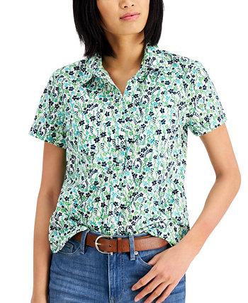 Хлопковая рубашка с принтом Tommy Hilfiger