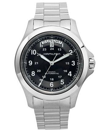 Мужские швейцарские автоматические часы цвета хаки King из нержавеющей стали с браслетом 40 мм H64455133 Hamilton