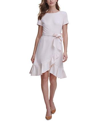 Платье из крепа с тюльпанами и подолами Petite Calvin Klein