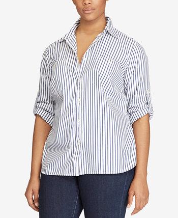 Полосатая рубашка больших размеров с роликами Ralph Lauren