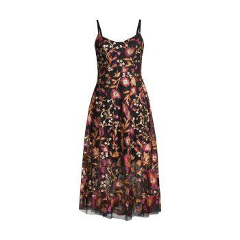 Uma Вышитый тюль Fit & amp; Платье-клеш Dress the Population