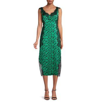 Шелковое платье-комбинация Irina в горошек Tanya Taylor