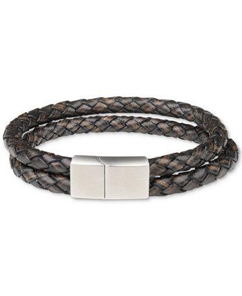 Мужской плетеный кожаный браслет с двумя нитями Bespoke
