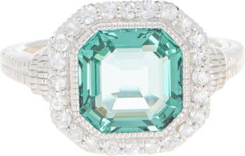 Серебряное кольцо с белым сапфиром Halo Asscher Cut Stone Judith Ripka