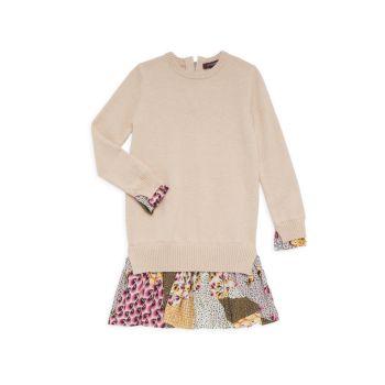 Маленькая девочка & amp; Многослойное платье-свитер Sweet Harmony для девочек Imoga