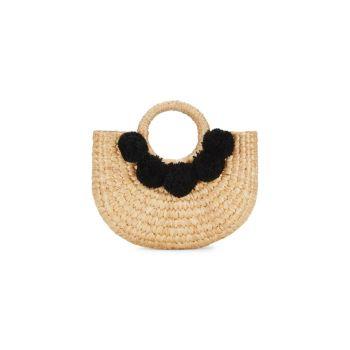 Маленькая сумка-тоут Camryn с помпонами из морских водорослей Sea & Grass