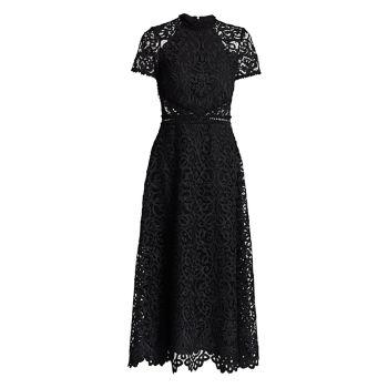 Кружевное платье миди трапециевидной формы с короткими рукавами ML Monique Lhuillier
