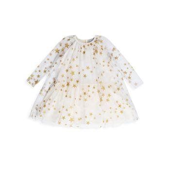 Маленькая девочка & amp; Платье для девочек с металлическим принтом в виде звезд Stella McCartney Kids