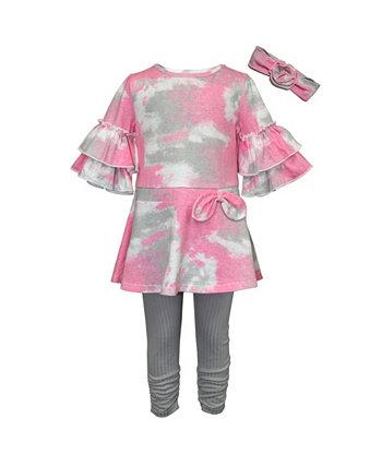Туника с принтом тай-дай и леггинсы в рубчик для девочек Little Girls, набор из 3 предметов Blueberi Boulevard