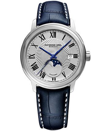 Мужские часы Swiss Maestro Moonphase с темно-синим кожаным ремешком, 39,5 мм Raymond Weil