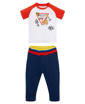 Baby Boys Printed and Embroidered Logo T-shirt and Knit Denim Jogger Set, 2 Piece GUESS